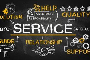 Servicekonzepte auf einer Tafel